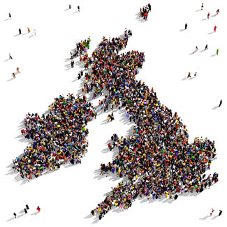 UK Map made of people